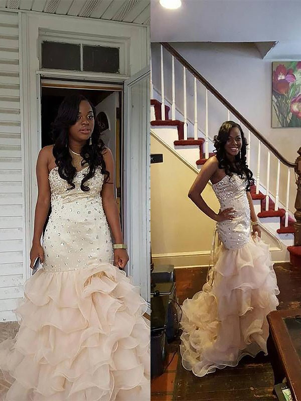 Open to Adoration Mermaid Style Sweetheart Organza With Beading Sweep/Brush Train Dresses