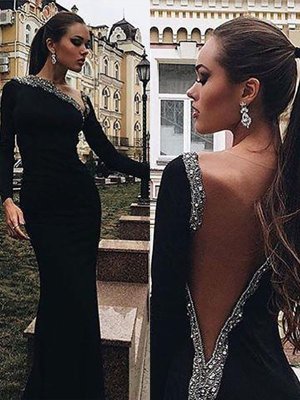 Lively Identity Mermaid Style One-Shoulder Spandex With Beading Floor-Length Dresses