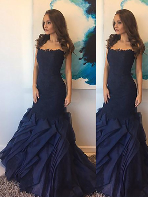 Beautiful You Mermaid Style Strapless Taffeta With Lace Floor-Length Dresses