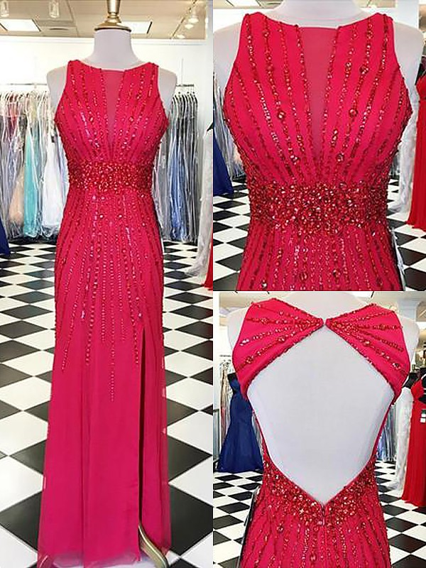 Dashing Darling Sheath Style Bateau With Beading Floor-Length Chiffon Dresses