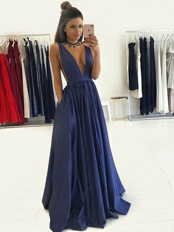 Glitz the Spot Princess Style V-neck Floor-Length Taffeta Dresses