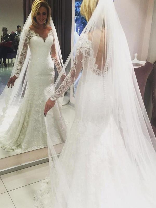 Romantic Vibes Sheath Style V-neck Sweep/Brush Train Lace Wedding Dresses