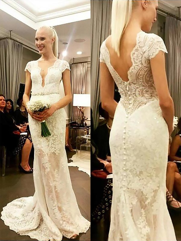 Touch of Texture Sheath Style V-neck Lace Sweep/Brush Train Wedding Dresses
