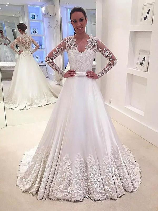 Dashing Darling Princess Style V-neck Satin Sweep/Brush Train Wedding Dresses