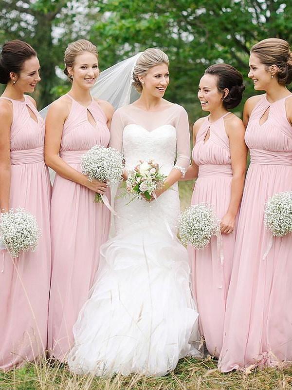 Modern Mood Princess Style Scoop Floor-Length Chiffon Bridesmaid Dresses
