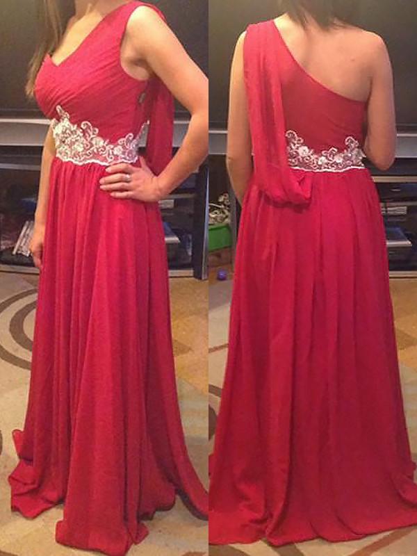 Eye-Catching Charm Princess Style One-Shoulder Floor-Length Chiffon Bridesmaid Dresses