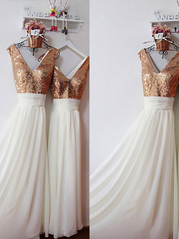 Absolute Lovely Princess Style Chiffon V-neck Floor-Length Sequin Bridesmaid Dresses