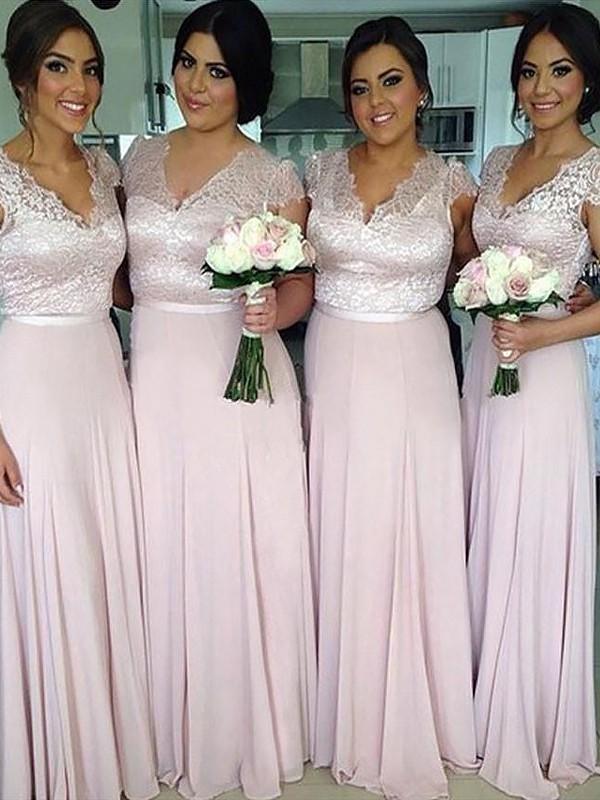 Aesthetic Honesty Princess Style V-neck Floor-Length Chiffon Bridesmaid Dresses