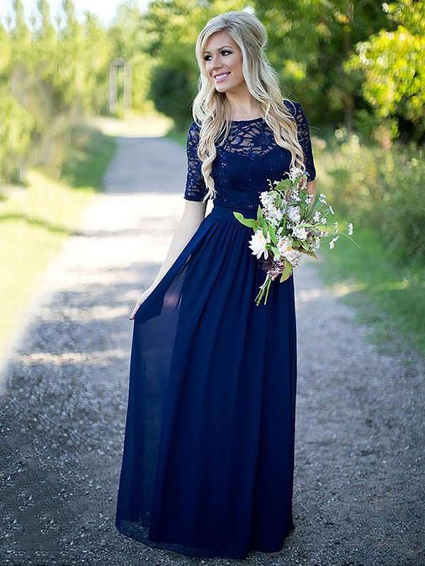Automatic Classic Princess Style Scoop Floor-Length Chiffon Bridesmaid Dresses