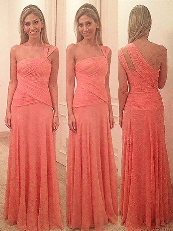 First Impressions Sheath Style One-Shoulder Floor-Length Chiffon Bridesmaid Dresses