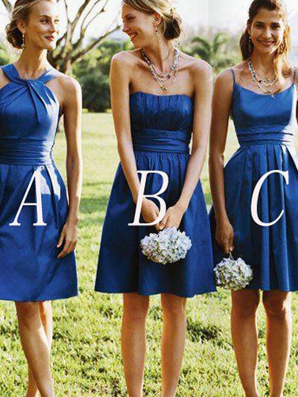 Cheerful Spirit Princess Style Satin Short/Mini Bridesmaid Dresses