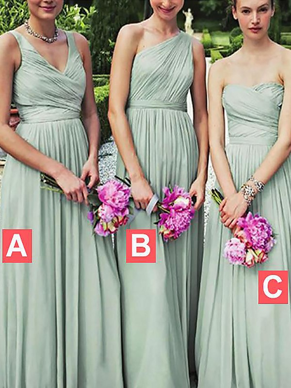 Too Much Fun Princess Style Chiffon Floor-Length Bridesmaid Dresses