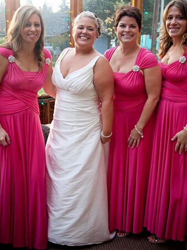 Open to Adoration Princess Style Straps Floor-Length Chiffon Bridesmaid Dresses