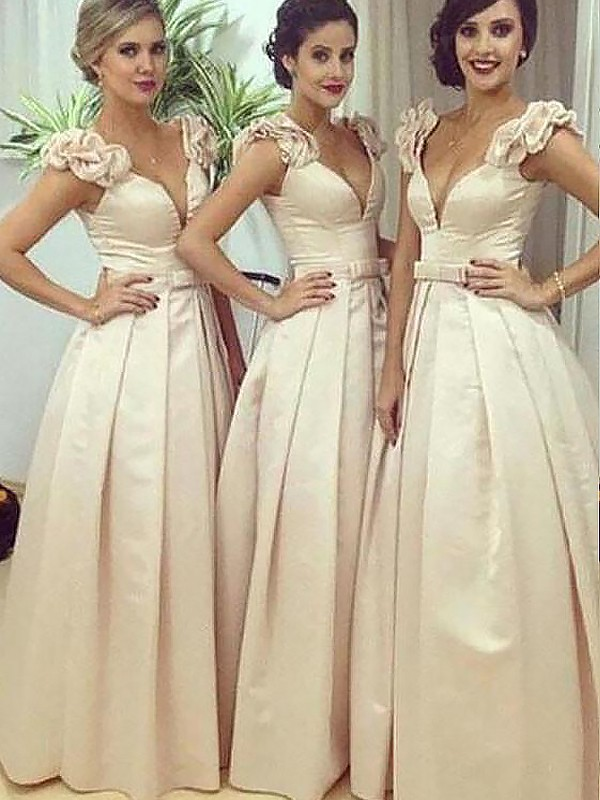 Memorable Magic Princess Style Floor-Length Satin Straps Bridesmaid Dresses