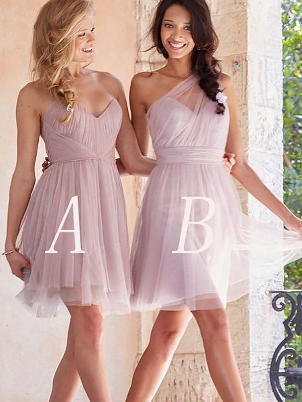 Vibrant Stylist Princess Style Tulle Short/Mini Bridesmaid Dresses
