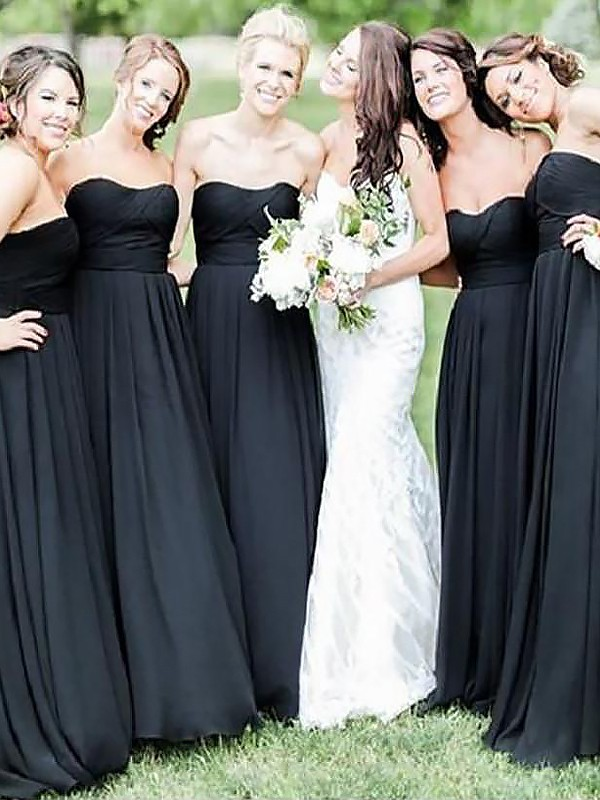 Yours Truly Princess Style Floor-Length Sweetheart Chiffon Bridesmaid Dresses