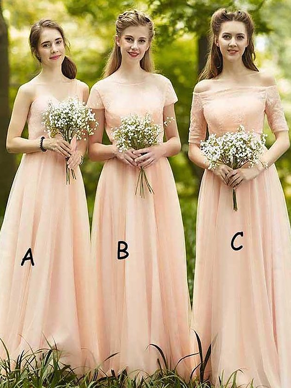 Romantic Vibes Princess Style Chiffon Floor-Length Bridesmaid Dresses