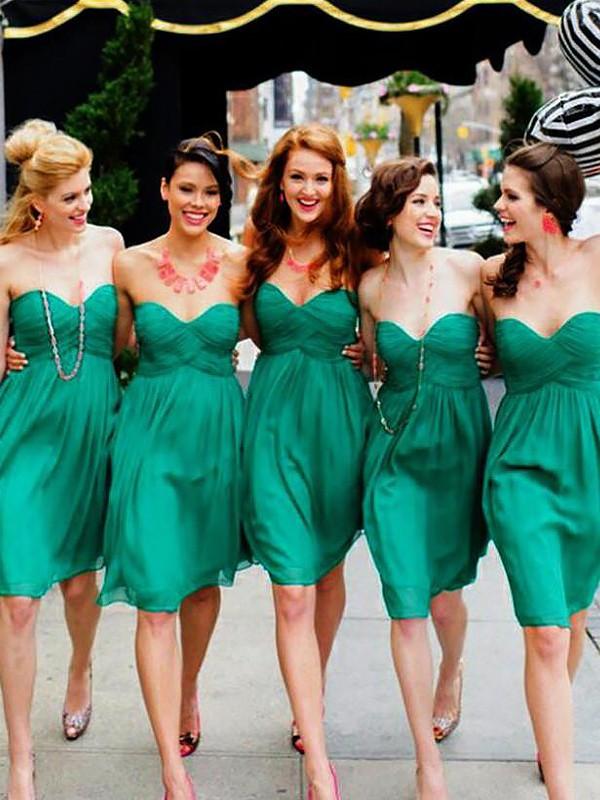 Easily Adored Princess Style Sweetheart Chiffon Short/Mini Bridesmaid Dresses