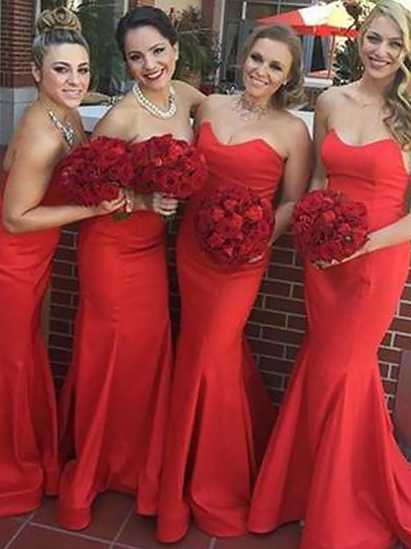 Embracing Grace Mermaid Style Sweetheart Floor-Length Satin Bridesmaid Dresses