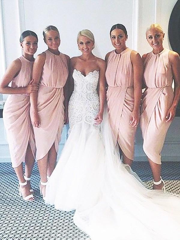 Modern Mood Sheath Style Chiffon Scoop Knee-Length Bridesmaid Dresses