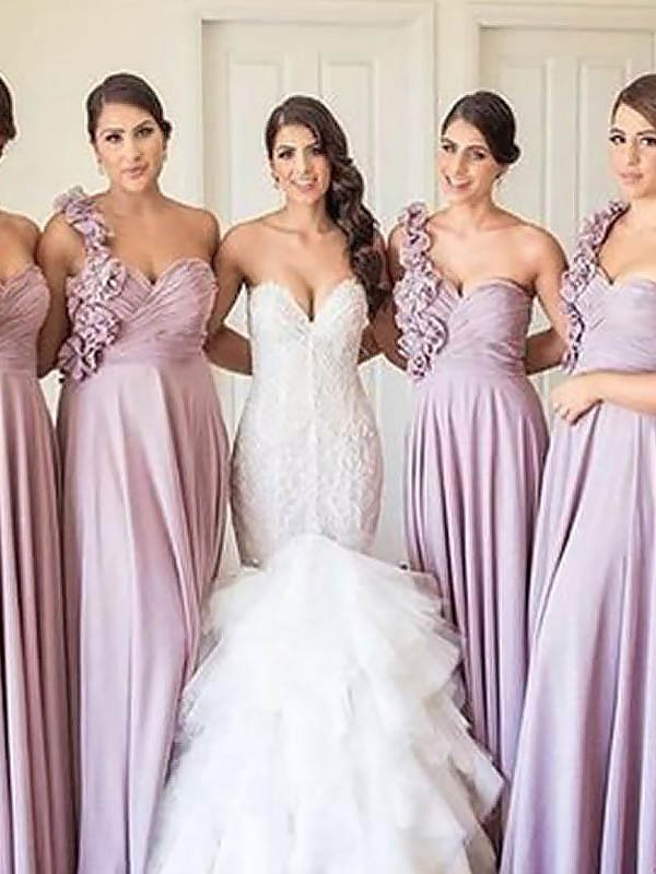 Treasured Reveries Princess Style One-Shoulder Chiffon Floor-Length Bridesmaid Dresses