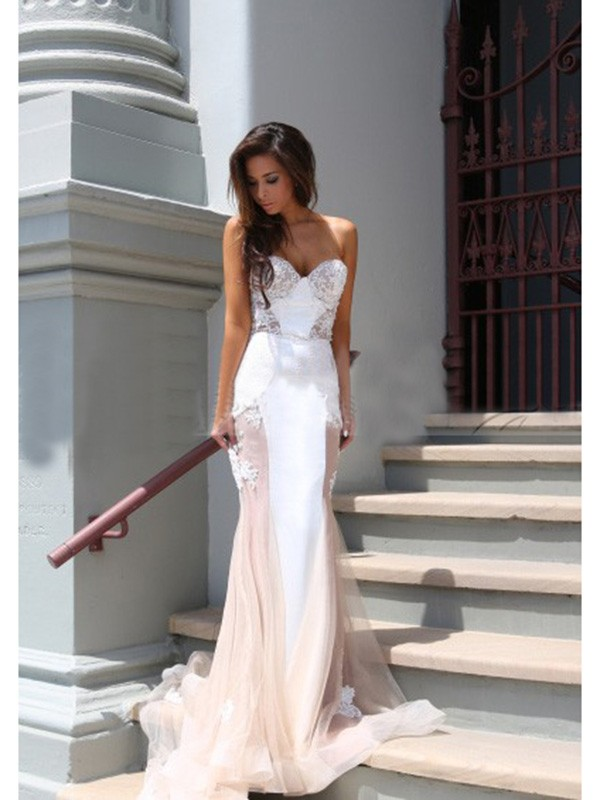 Befits Your Brilliance Mermaid Style Sweetheart Tulle Chapel Train Dresses