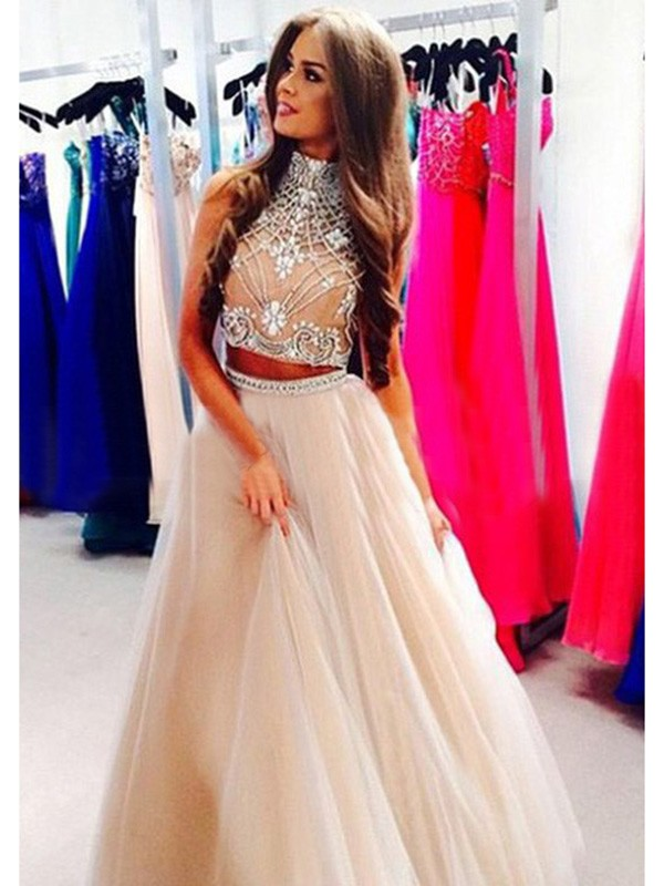 Glitz the Spot Princess Style High Neck Beading Tulle Floor-Length Dresses