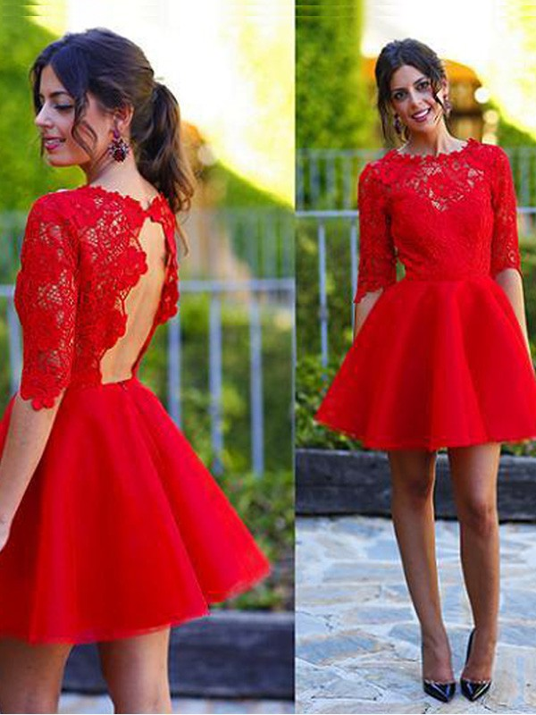 Eye-Catching Charm Princess Style Scoop Lace Short/Mini Dresses