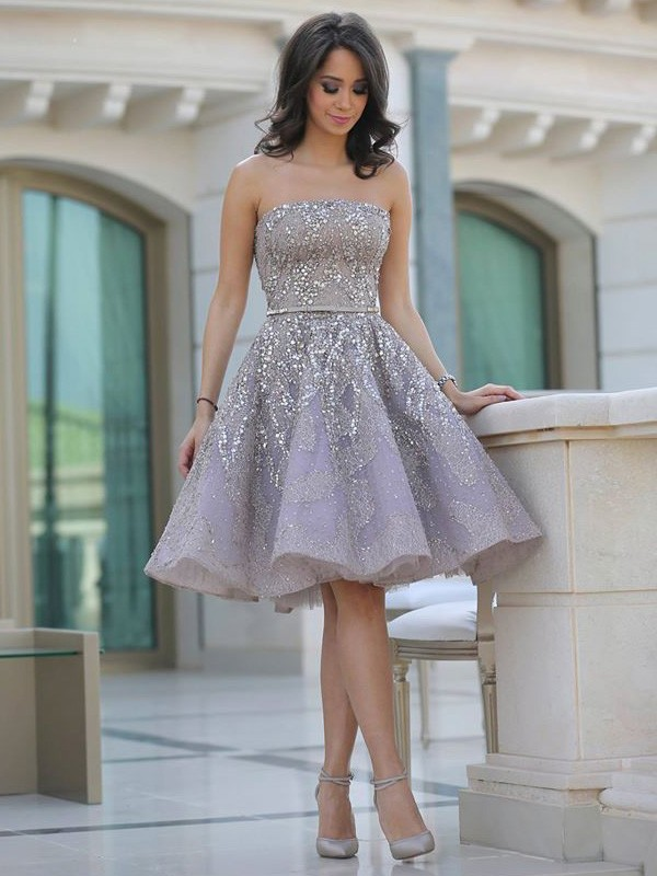 Aesthetic Honesty Princess Style Strapless Sequin Knee-Length Satin Dresses
