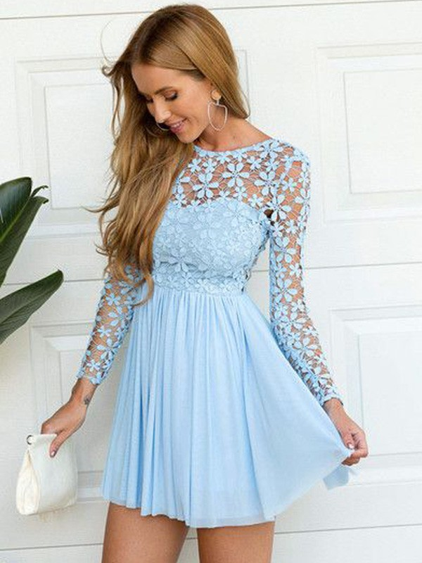 Pleasant Emphasis Princess Style Scoop Lace Short/Mini Chiffon Dresses