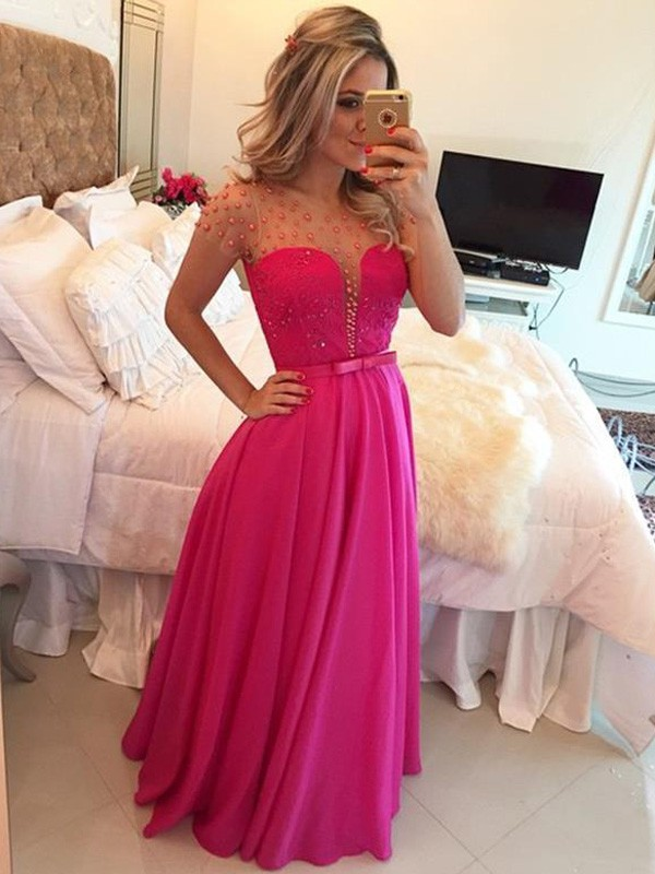 Stylish Refresh Princess Style Scoop Beading Floor-Length Chiffon Dresses
