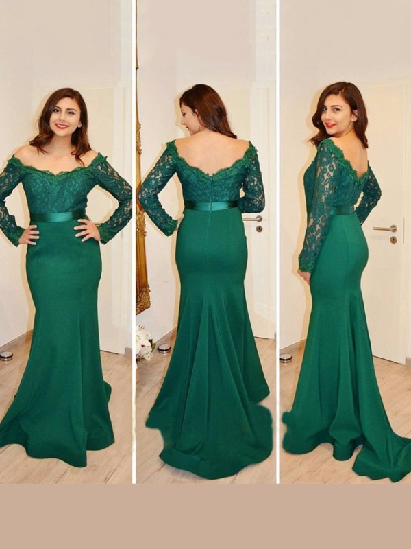 Desired Spotlight Mermaid Style Off-the-Shoulder Applique Floor-Length Satin Dresses
