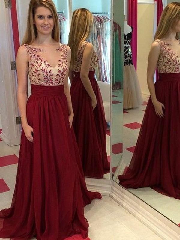 Sweet Sensation Princess Style Bateau Applique Floor-Length Chiffon Dresses