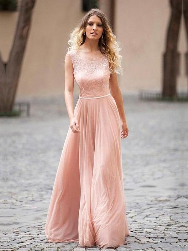 Festive Self Princess Style Scoop Applique Floor-Length Chiffon Dresses