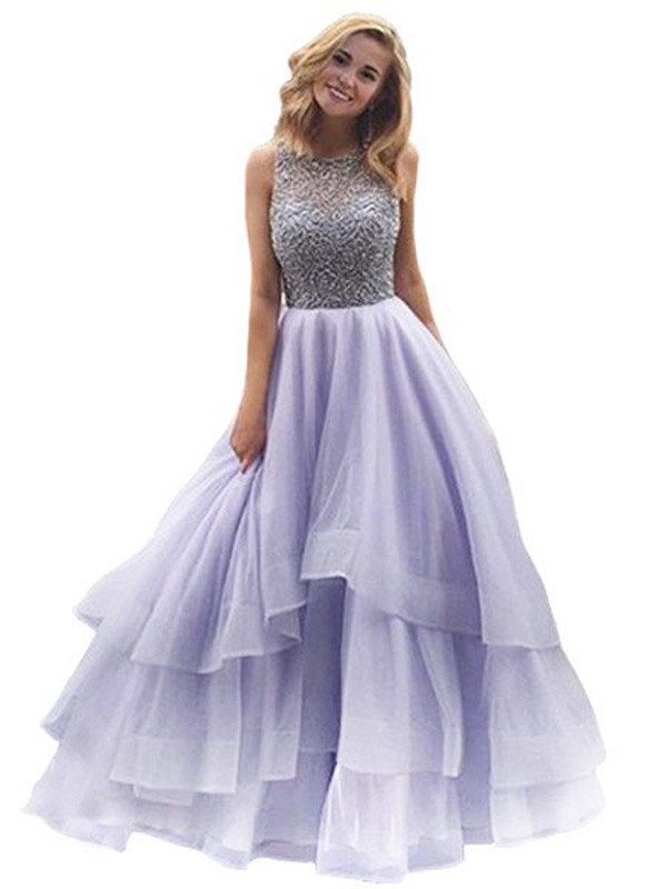 Intuitive Impact Ball Gown Scoop Floor-Length Beading Organza Dresses