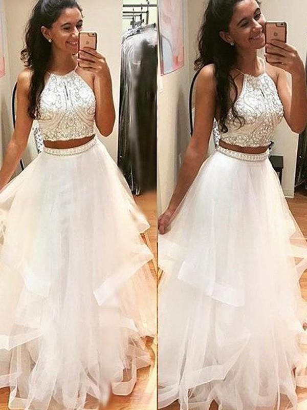 Absolute Lovely Princess Style Halter Floor-Length Beading Tulle Dresses