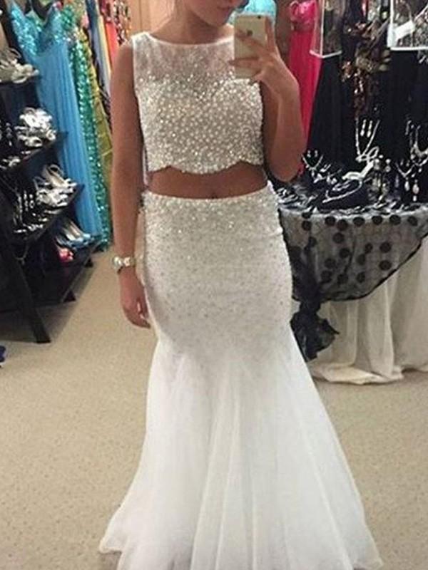 Pleasant Emphasis Mermaid Style Scoop Floor-Length Beading Tulle Dresses