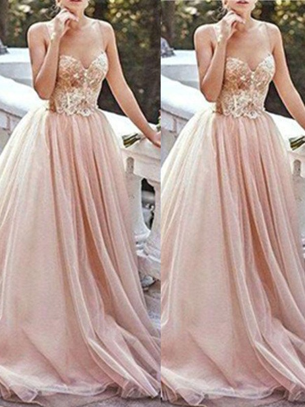 Cheerful Spirit Princess Style Sweetheart Sweep/Brush Train Beading Tulle Dresses