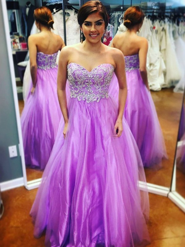 Too Much Fun Princess Style Sweetheart Applique Floor-Length Tulle Dresses