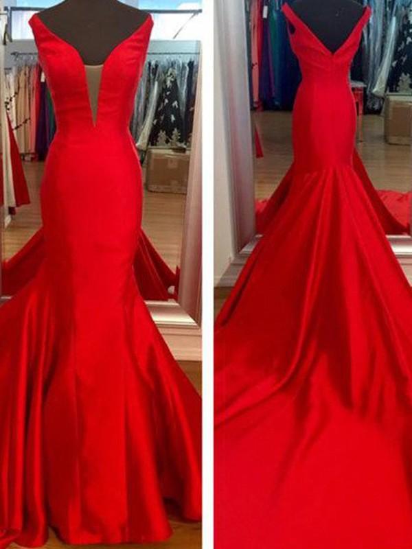 Open to Adoration Mermaid Style V-neck Satin Sweep/Brush Train Dresses