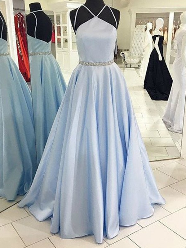 Savor the Occasion Princess Style Halter Floor-Length Satin Dresses