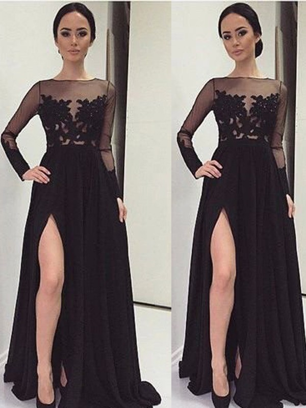 Chic Chic London Princess Style Bateau Lace Floor-Length Chiffon Dresses
