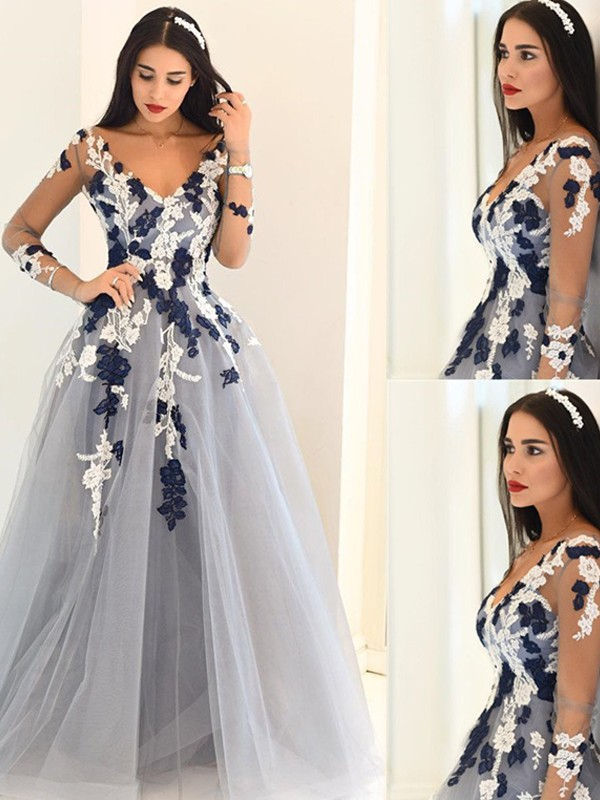 Touch of Texture Princess Style V-Neck Applique Tulle Floor-Length Dresses