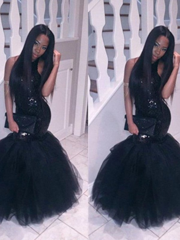 Pretty Looks Mermaid Style Halter Floor-Length Sequin Tulle Dresses