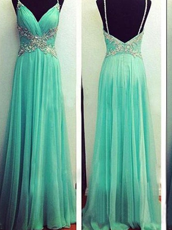 Visual Moment Princess Style Spaghetti Straps Beading Floor-Length Chiffon Dresses