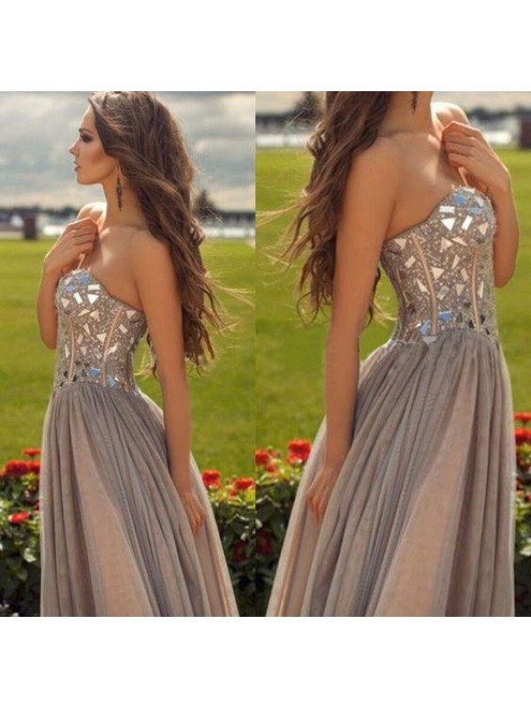Visual Moment Princess Style Sweetheart Chiffon Beading Floor-Length Dresses