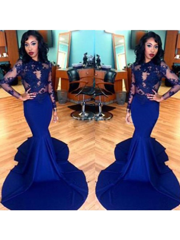 Cheerful Spirit Mermaid Style Scoop Lace Elastic Woven Satin Sweep/Brush Train Dresses