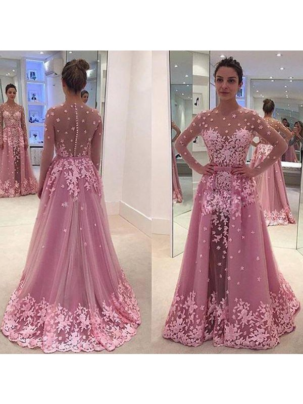 Too Much Fun Princess Style Scoop Applique Tulle Floor-Length Dresses