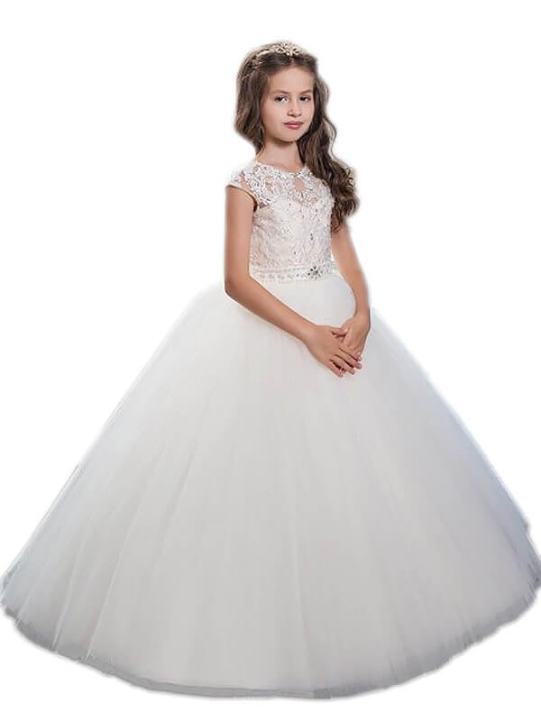 Too Much Fun Ball Gown Scoop Beading Floor-Length Tulle Flower Girl Dresses
