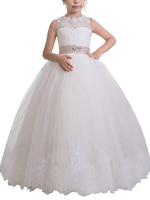 Memorable Magic Ball Gown Scoop Sash/Ribbon/Belt Floor-Length Tulle Flower Girl Dresses